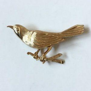 Vintage Bird Brushed Gold Tone Brooch